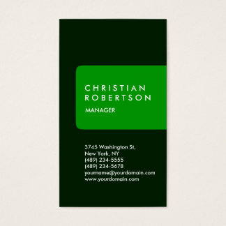 Vertical trendy standard green business card