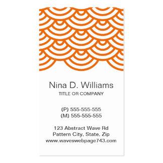 Vertical trendy tangerine Japanese wave pattern Business Card