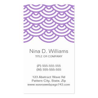 Vertical trendy violet Japanese wave pattern Business Cards
