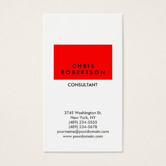 Vertical Trendy White Red Stripe Business Card