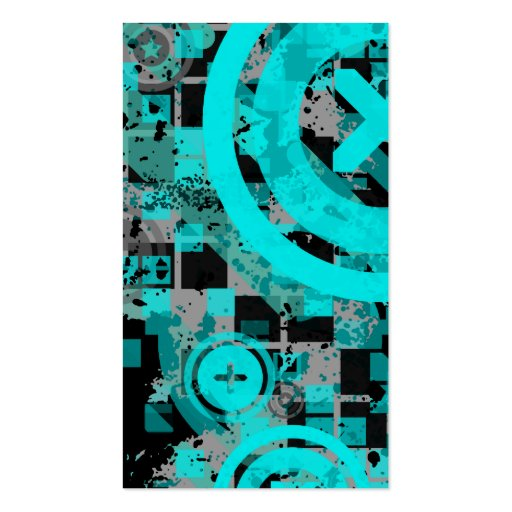 vertical turquoise chex business card