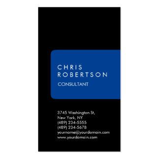 Vertical Unique Black Blue Stripe Business Card