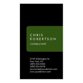 Vertical Unique Black Green Stripe Business Card