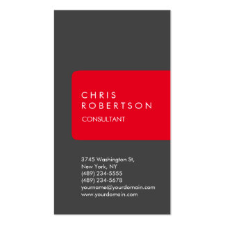 Vertical Unique Grey Red Stripe Business Card