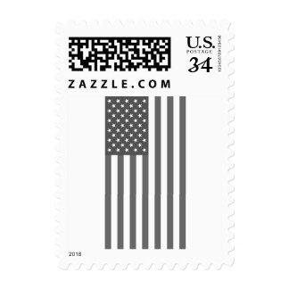Vertical United States Flag in Black & White Postage