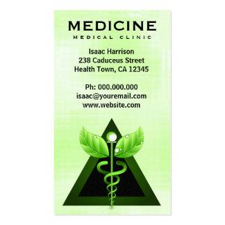 Vertical verde clara del caduceo de la medicina tarjetas de visita