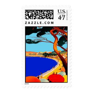 Vertical Vintage Cote D'Azur French Travel Stamp