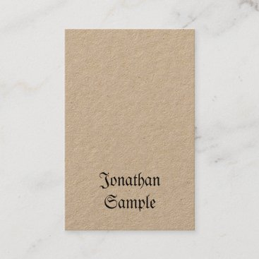 Vertical Vintage Nostalgic Classic Look Real Kraft Business Card