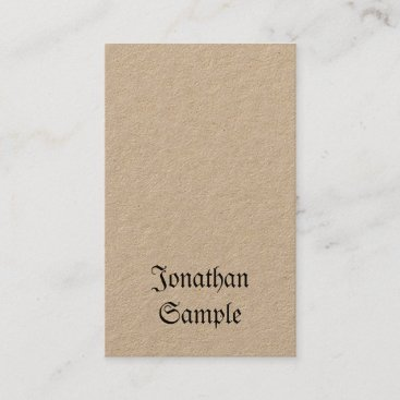 Vertical Vintage Nostalgy Classic Look Real Kraft Business Card