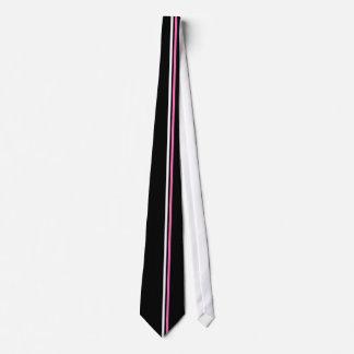 Vertical White, Hot Pink Stripes on Black Necktie
