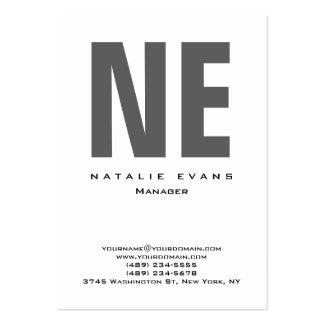 Vertical white plain simple huge monogram clean large business card