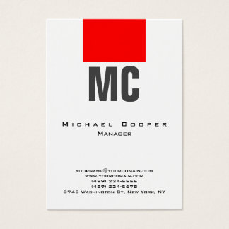 Vertical white red plain simple monogram clean business card