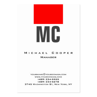 Vertical white red plain simple monogram clean large business card