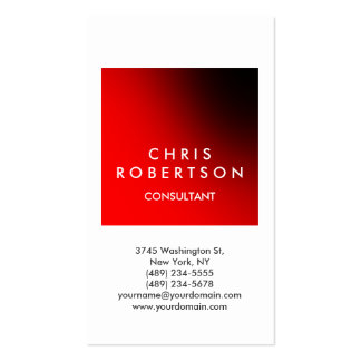 Vertical White Red Stripe Consultant Business Card