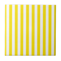 Vertical Yellow Stripes Ceramic Tile