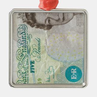 verticle de la nota £5 adorno navideño cuadrado de metal