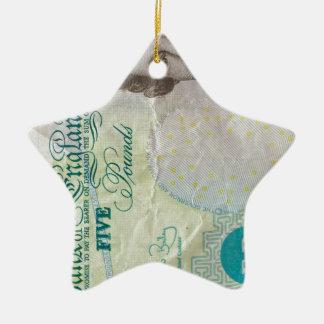 verticle de la nota £5 adorno navideño de cerámica en forma de estrella