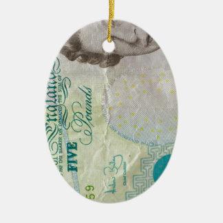 verticle de la nota £5 adorno navideño ovalado de cerámica