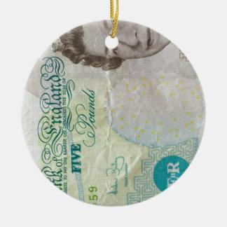 verticle de la nota £5 adorno navideño redondo de cerámica