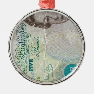 verticle de la nota £5 adorno navideño redondo de metal