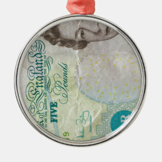 verticle de la nota £5 ornamentos de reyes