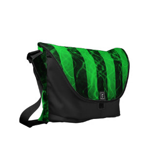 Verticle stripe punk black and green design messenger bag
