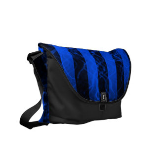 Verticle stripe punk black and purple design courier bag