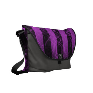 Verticle stripe punk black and purple design courier bags