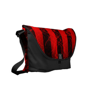 Verticle stripe punk black and red design courier bag
