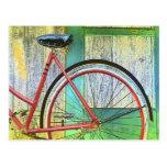 Vertiente vieja de ciclo que monta en bicicleta de postal