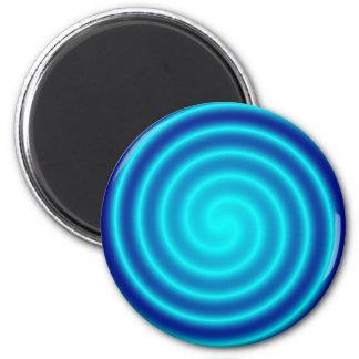 Vértigo azul que tuerce en espiral imán redondo 5 cm