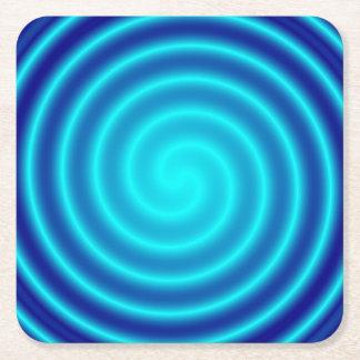 Vértigo azul que tuerce en espiral posavasos de cartón cuadrado