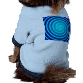 Vértigo azul que tuerce en espiral camiseta con mangas para perro