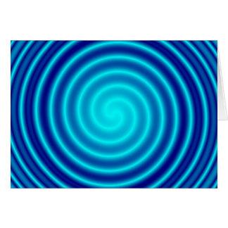 Vértigo azul que tuerce en espiral tarjeta de felicitación