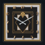 """Very Art Deco Square Wall Clock<br><div class=""""desc"""">I created this wall clock using deco elements and using gold black and grey. It's very art deco and would make a lovely gift especially for a couple who love art deco. Perhaps you would just like to keep it for yourself. Whatever you decide this is a bespoke piece of...</div>"""