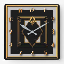 Very Art Deco Square Wall Clock