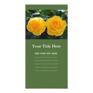 very beautiful, fresh double yellow rose flowers card