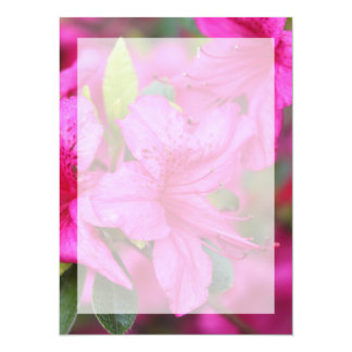 Very beautiful spring, summer pink azalea flower. 5.5x7.5 paper invitation card