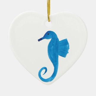 Very Blue Sea Horse Ceramic Ornament