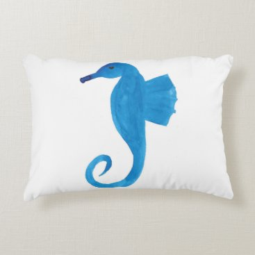 Very Blue Sea Horse Decorative Pillow