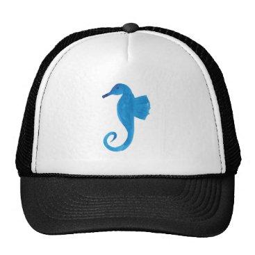 Beach Themed Very Blue Sea Horse Trucker Hat