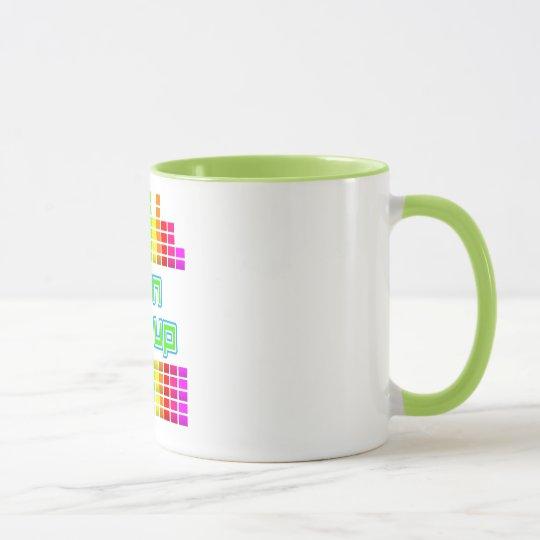 very bright turn it up graphic eq dj cup or mug
