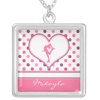 Very Cherry Polka-Dots Lots of Pink Figure Skater Silver Plated Necklace