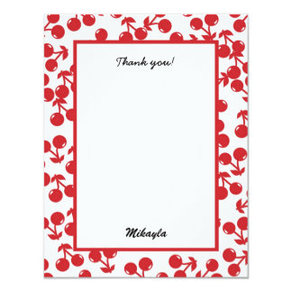 Very Cherry Red Thank You Note Stationery Card