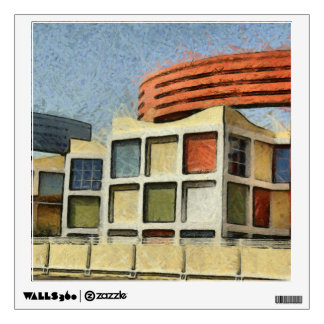 Very colorful building wall decal