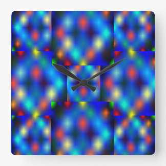 Very colorful images, distance effect, darkish. square wall clock