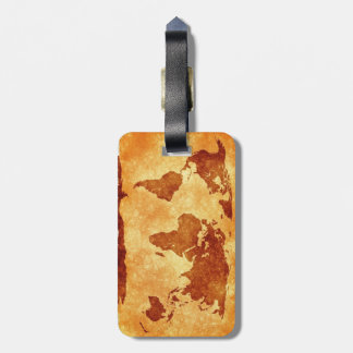 Very cool antique world map luggage tag