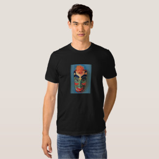 Very cool, colorful mask printed on a black tshirt