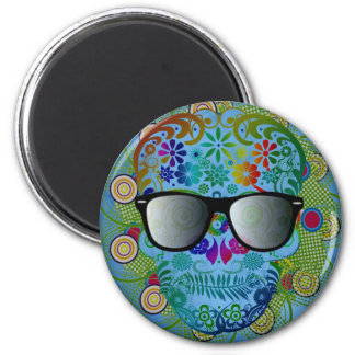 Very cool colourful skull with glasses 2 inch round magnet