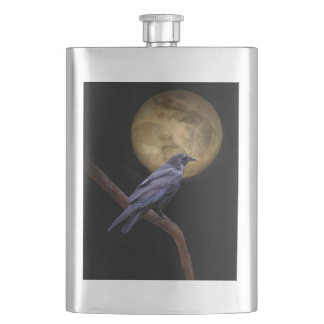 Very Cool Gothic Style Raven and Moon Flask